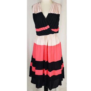 Taylor black pink striped pleated flirty dress